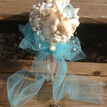 Turquoise Aqua Bouquet, Seashell Bouquet,  Shell Bouquet, Beach Wedding Bouquet, Coastal Bouquet, Alternative Bouquet, Caribbean Wedding