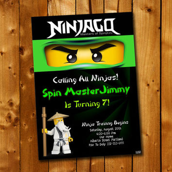 Ninjago, Birthday Invitation, Birthday Party for little boy and little girl
