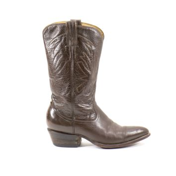 Vintage Cowboy Boots Brown Western Rocker Handmade Leather Boots UNISEX Mens size 9.5 / Womens Size 11