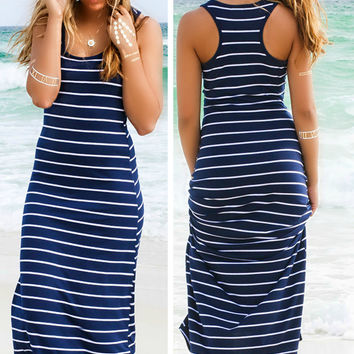 Maxi Dress Plus Size Sleeveless Maxi Beach Dress Cotton DressesTank Stripe Dress Stripe Black White Strapless Maxi Dress