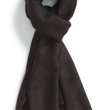 Men's Lanvin Geometric Pattern Wool Scarf - Brown