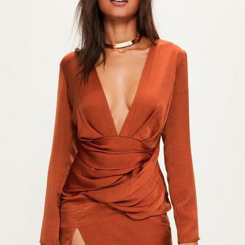 Missguided - Orange Silky Long Sleeve Panelled Shift Dress