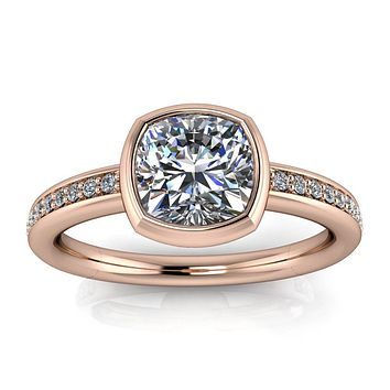 Bezel Set Engagement Ring Cushion Cut - Grata