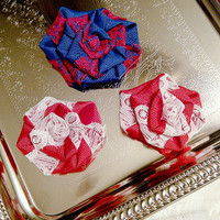 Baby Girls Hair Bows Navy Blue Red and White Hair accessories for School Hair Clips Pig Tails Set