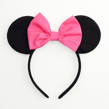 Mouse Ears Bow Minnie Mouse Ears Halloween Costume Pink Mickey Ears Headband Pink Minnie Ears Pink Minnie Mouse Bow Pink Minnie Mouse Outfit