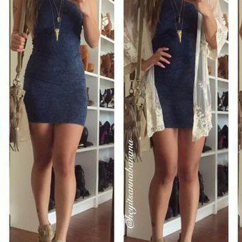 Mineral Washed Cut Out Dress - Blue