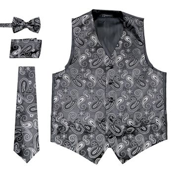 Ferrecci Mens Silver/Black Paisley Wedding Prom Grad Choir Band 4pc Vest Set