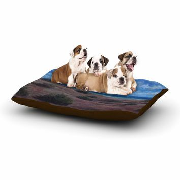 "Cyndi Steen ""Donna's Beach"" Brown Blue Painting Dog Bed"