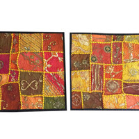 Indian Cushion Covers Vintage Patchwork Handmade Decorative Sofa Cushion Cover