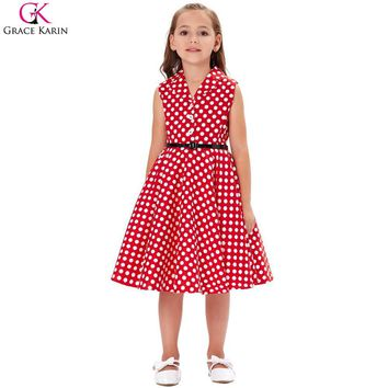 Grace Karin Flower Girl Dresses Swing Pin Up 50s Vintage Dress Audrey Hephurn Polka Dot Retro Wedding Party Kids Summer Dresses