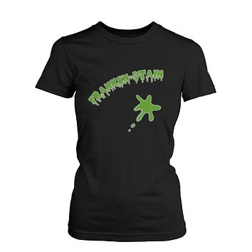 Franken-stain Halloween Women's T-Shirt Funny Graphic Black Tees for Horror Night
