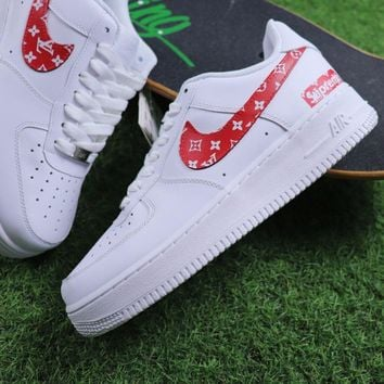 Supreme x LOUIS VUITTON LV x Nike Air Force 1 White Red Sport Shoes Sneaker