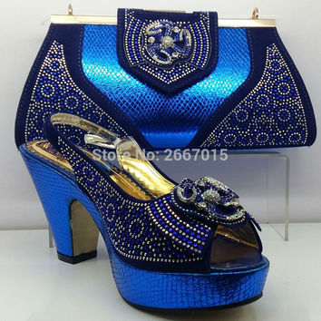 Blue Shoes and Bag To Match Italian Matching Shoe and Bag Set African Wedding Shoes and Bag To Match for Parties Shoes and Bag