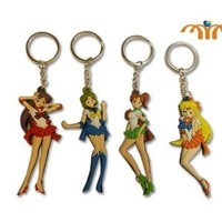 "Sailor Moon Anime Rubber Keychain 4 pcs set - approx 3.25"" tall"