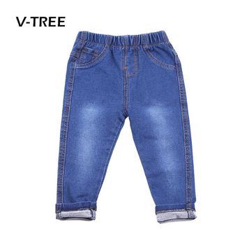 V-TREE Baby Boys Girls Jeans Pants Candy Color Cotton Toddlers Trousers Fashion Kids Children Clothes Pants 12M-6T