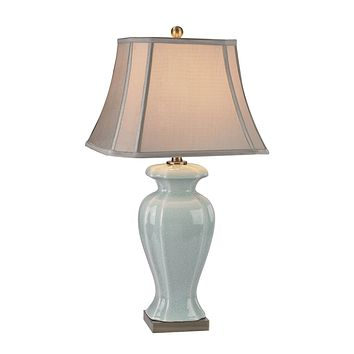 Celadon Table Lamp in Glazed Green Ceramic With Antique Brass Accents