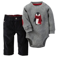 Carter's Penguin Thermal Bodysuit & Corduroy Pants Set - Baby Boy, Size: