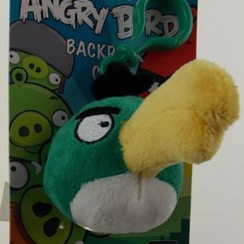 "Lot 2 Angry Bird Backpack Zipper Clip Toucan Green Plush 3"" Rovio Plush Stuffed"