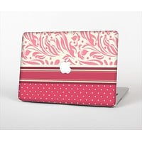 The Hot Pink Swirly Pattern with Polka Dots Skin Set for the Apple MacBook Pro 13""