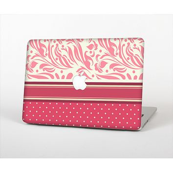 """The Hot Pink Swirly Pattern with Polka Dots Skin Set for the Apple MacBook Pro 13"""""""