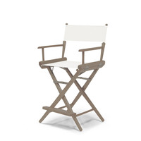 Rustic Grey World Famous Director Chair- Counter Height - White Cover