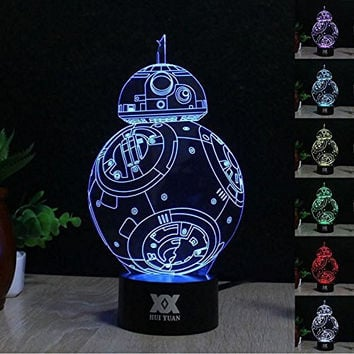 Huiyuan 3d Lamp Star War Fuwa Force Awaken Bb-8 Night 7 Color Change Best Gift Night Light LED Furnish Desk Table Lighting Home Decoration Toys