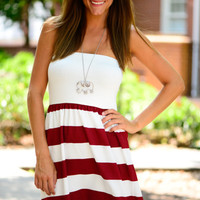 The Kickoff Dress, Crimson/White