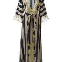 Rosamosario Lace Application Striped Dressing Gown - Rosamosario - Farfetch.com