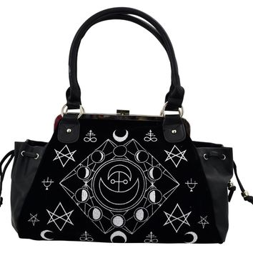 Witchcraft Moon Cycle and occult symbols Black Velvet Gothic Handbag
