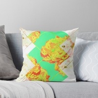 'Abstract Geometric Pop Green Peonies Flowers Design ' Throw Pillow by oursunnycdays