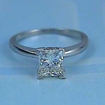 1.51ct Princess cut Diamond Engagement ring 18kt White Gold EGL CERTIFIED  JEWELFORME BLUE