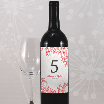 Table Number Reef Coral Wine Labels- in your choice of 8 Colors ( Sold in Packs of 12)