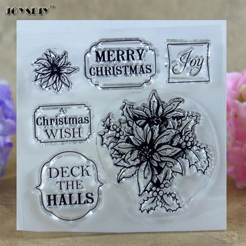 Christmas Wish Deck The Halls Scrapbook DIY photo cards account rubber stamp clear stamp transparent stamp  10.0*10.0 CM