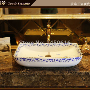 Rectangular Bathroom Lavabo Ceramic Counter Top Wash Basin Cloakroom Hand Painted Vessel Sink 5036