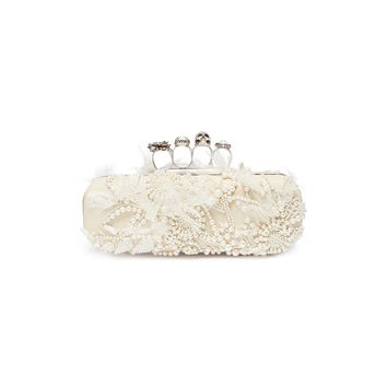 Alexander McQueen | Faux pearl embellished leather knuckle clutch | Women | Lane Crawford - Shop Designer Brands Online