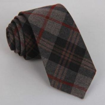 Red Yellow and Gray Striped Slim Tie