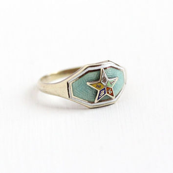 Vintage 10k Yellow Gold Order of the Eastern Star Ring - Art Deco Size 5 3/4 OES Colorful Guilloche Green White Enamel Mason Fine Jewelry