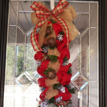Burlap Door Swag, Burlap Wreath, Christmas Swag, Burlap Christmas Wreath, Fast Shipping