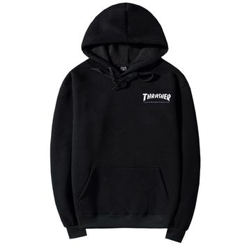 ThrasherQuality hooded sweater flame slide hip sweater Letters on the side Black