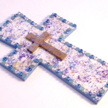 Christian Cross - Stacked Wall Hanging - Wall Decor - Wall Cross - Stacked cross - Wood cross - Hand painted with Stones