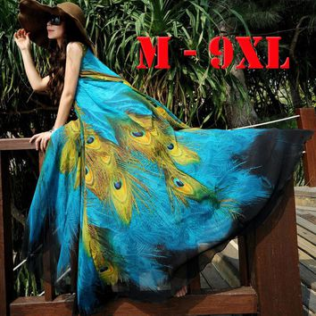 2017 M-9XL Long Plus Size Beach Dresses For Vacation Print Peacock Bohemia Summer Dress Big Size Maxi Dress 9XL 8XL 7XL 6XL 5XL