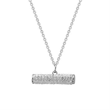 Iced Out Sideways Bar Pendant Stainless Steel Simulated Diamond Dainty Choker Chain