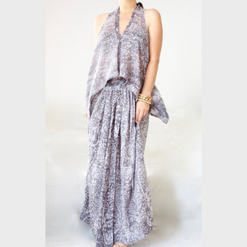 Printed Maxi Dress / Lightweight Semi-Sheer Fabric/ Plunging V-neckline/ Set Maxi Dress / Boho Tank Top Dress /Plus Size Crisscross Set