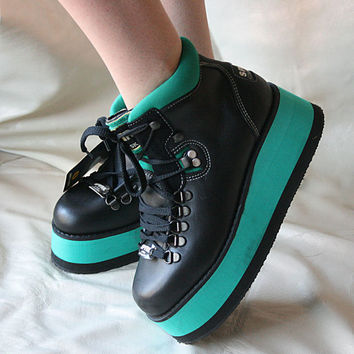 Green Ray  80's Vintage RARE Rave Boots FREE SHIPPING - New Never worn