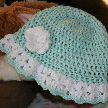 Baby crochet beanie hat summer sun mint OOAK crochetyknitsnbits Luxury hand made baby girl clothes bamboo layette shower gift 3 to 9 months