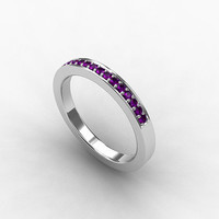Amethyst ring, wedding band, eternity ring, Palladium, amethyst wedding, purple, violet, amethyst, wedding ring, promise, micro pave