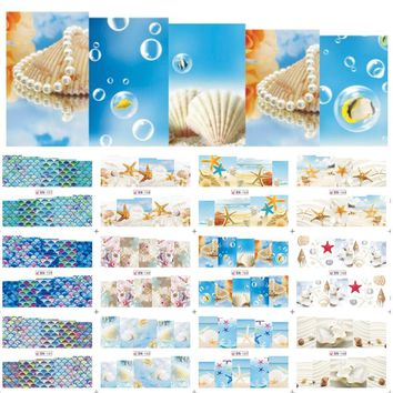 12 Designs Nail Art Water Transfer Decals Summer Sea Beach Styling Cartoon Design Adhesive Glue Manicure Sticker BN157-168