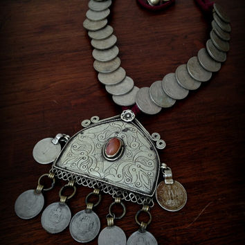 Large Banjara Necklace with India Rupee Coins and Pendant Large Tribal Coin Necklace Banjara Necklace Gypsy Coin Necklace Kuchi Necklace