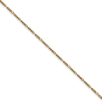 1.25mm 14k Yellow Gold Flat Figaro Chain Necklace