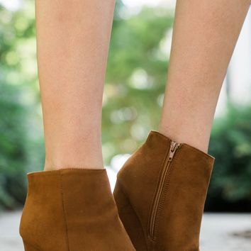 Living On The Wedge Chestnut Booties